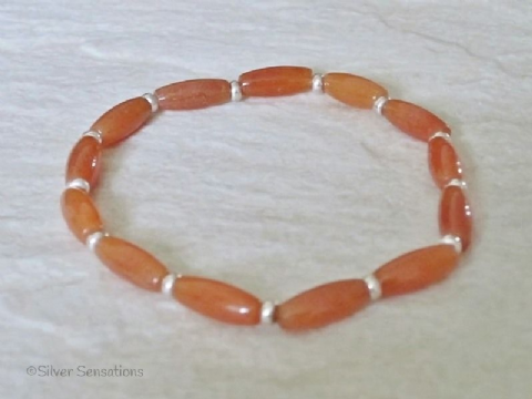Dark Orange Red Aventurine Rice Beads & Sterling Silver Bracelet